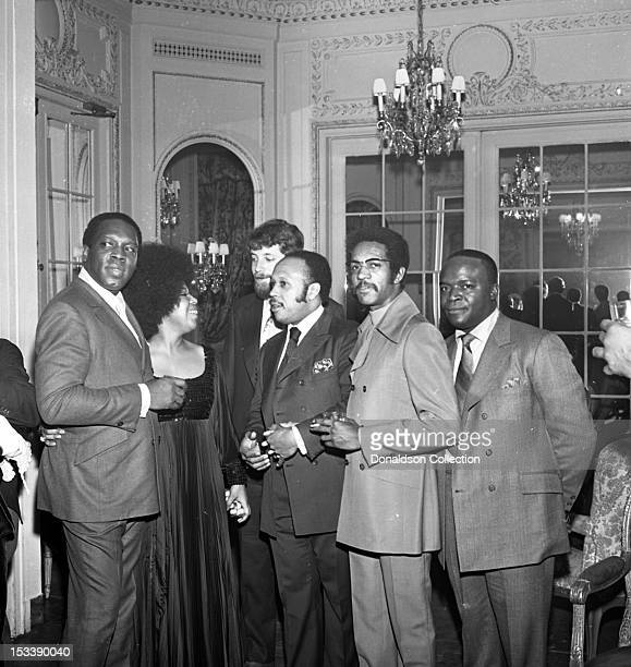Record producer King Curtis singer Roberta Flack and party guests at an Atlantic Records party in her honor at the St Regis Hotel on November 17 1969...