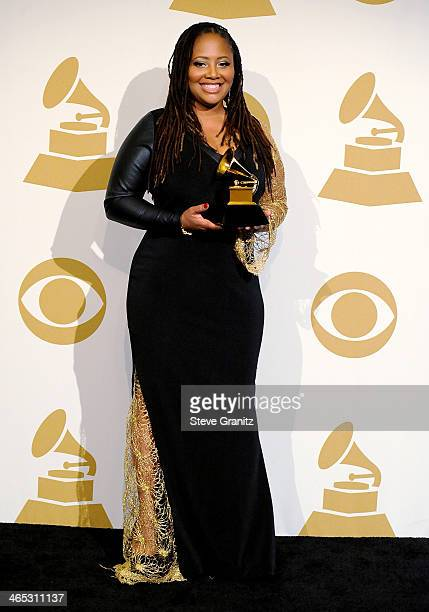 Record producer Lalah Hathaway poses in the press room during th 56th GRAMMY Awards at Staples Center on January 26 2014 in Los Angeles California
