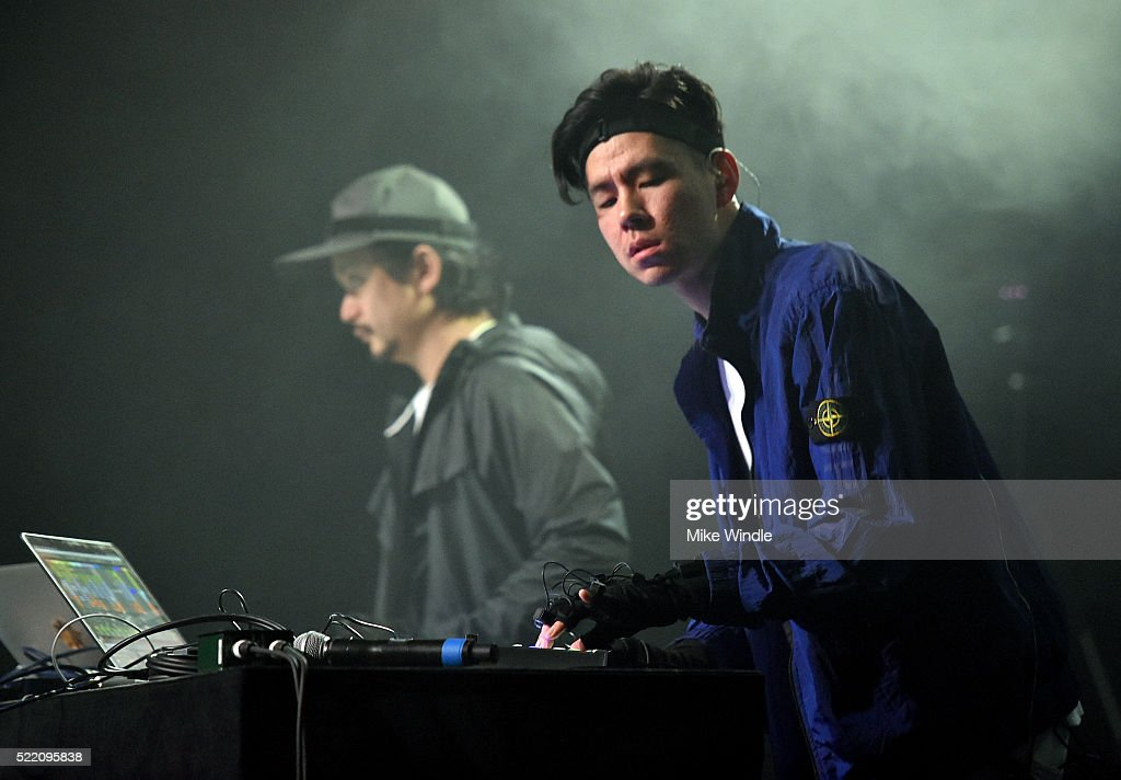 Record producer Nosaj Thing (R) performs onstage during day 3 of the 2016 Coachella Valley Music And Arts Festival Weekend 1 at the Empire Polo Club on April 17, 2016 in Indio, California.