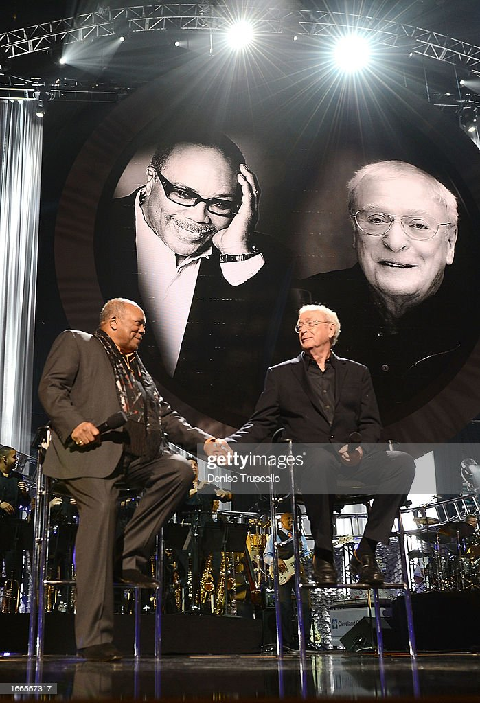 Record producer <a gi-track='captionPersonalityLinkClicked' href=/galleries/search?phrase=Quincy+Jones&family=editorial&specificpeople=171797 ng-click='$event.stopPropagation()'>Quincy Jones</a> (L) and actor Sir <a gi-track='captionPersonalityLinkClicked' href=/galleries/search?phrase=Michael+Caine+-+Actor&family=editorial&specificpeople=159746 ng-click='$event.stopPropagation()'>Michael Caine</a> greet each other onstage during the 17th annual Keep Memory Alive 'Power of Love Gala' benefit for the Cleveland Clinic Lou Ruvo Center for Brain Health celebrating the 80th birthdays of <a gi-track='captionPersonalityLinkClicked' href=/galleries/search?phrase=Quincy+Jones&family=editorial&specificpeople=171797 ng-click='$event.stopPropagation()'>Quincy Jones</a> and Sir <a gi-track='captionPersonalityLinkClicked' href=/galleries/search?phrase=Michael+Caine+-+Actor&family=editorial&specificpeople=159746 ng-click='$event.stopPropagation()'>Michael Caine</a> on April 13, 2013 in Las Vegas, Nevada.