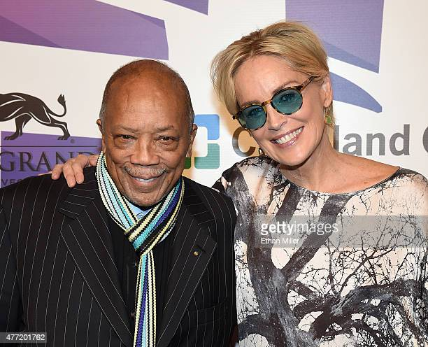 Record producer Quincy Jones and actress Sharon Stone attend the 19th annual Keep Memory Alive 'Power of Love Gala' benefit for the Cleveland Clinic...