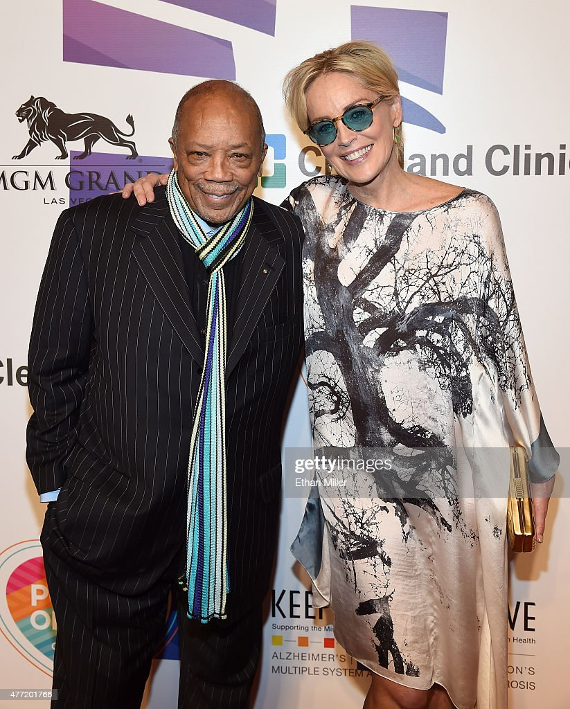 Record producer Quincy Jones (L) and actress Sharon Stone attend the 19th annual Keep Memory Alive 'Power of Love Gala' benefit for the Cleveland Clinic Lou Ruvo Center for Brain Health honoring Andrea Bocelli and Veronica Bocelli at MGM Grand Garden Arena on June 13, 2015 in Las Vegas, Nevada.