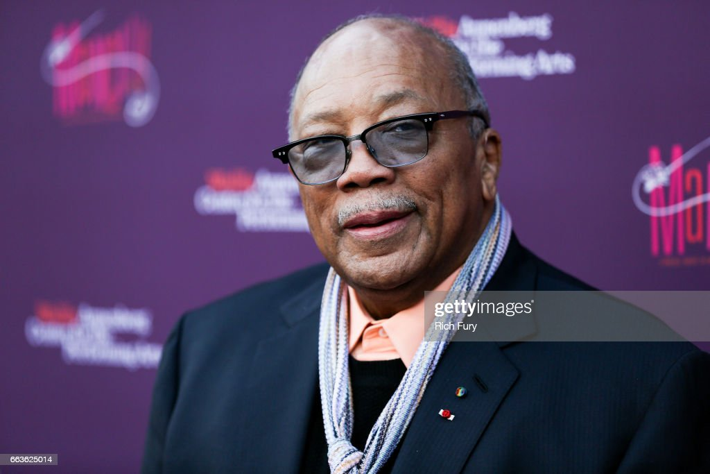 Record producer Quincy Jones arrives at Mancini Delivered - A Musical Tribute To Ginny And Henry Manciniat the Wallis Annenberg Center for the Performing Arts on April 1, 2017 in Beverly Hills, California.