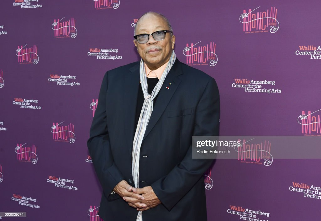 Record Producer Quincy Jones attends Mancini Delivered - A Musical Tribute to Ginny and Henry Mancini at Wallis Annenberg Center for the Performing Arts on April 1, 2017 in Beverly Hills, California.