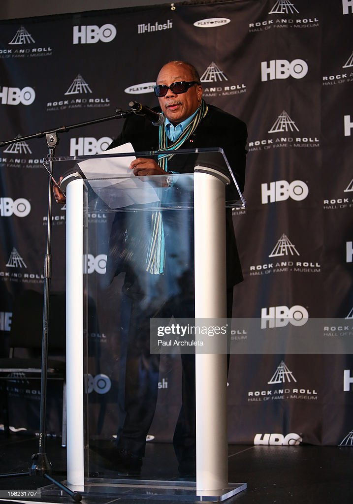Record producer Quincy Jones attends the announcements for the 2013 inductees to the 28th annual Rock And Roll Hall of Fame induction ceremony at Nokia Theatre LA Live on December 11, 2012 in Los Angeles, California.