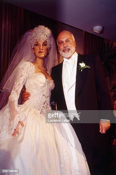 Record producer René Angelil and Canadian singer Céline Dion during their wedding ceremony