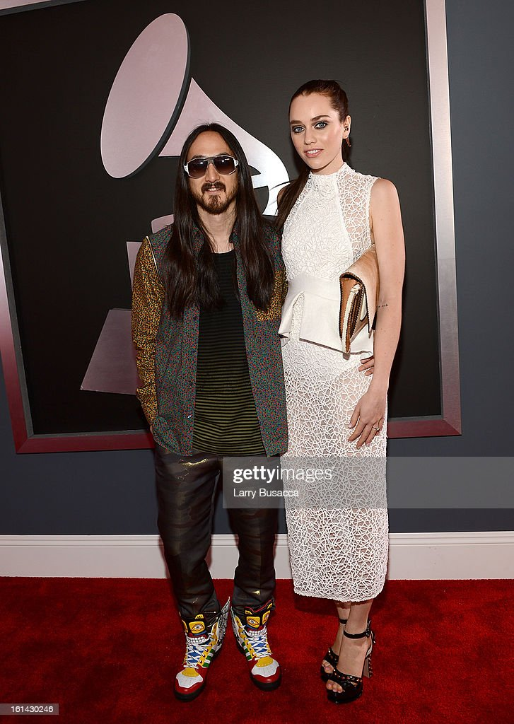 Record producer Steve Aoki (L) attends the 55th Annual GRAMMY Awards at STAPLES Center on February 10, 2013 in Los Angeles, California.