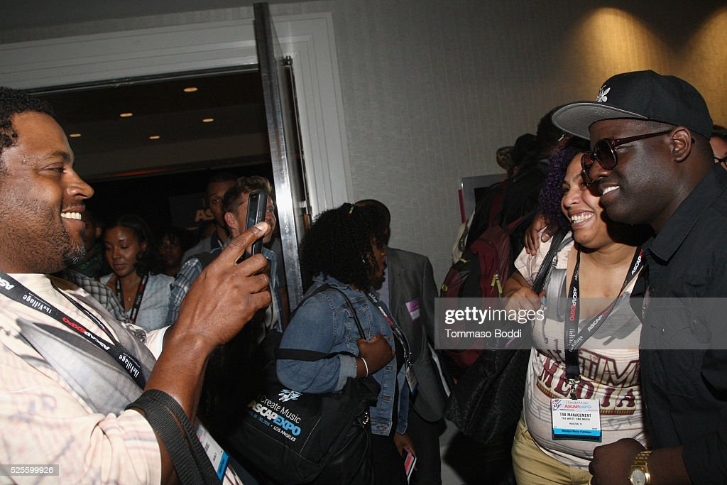 Record producer <a gi-track='captionPersonalityLinkClicked' href=/galleries/search?phrase=Warryn+Campbell&family=editorial&specificpeople=4432419 ng-click='$event.stopPropagation()'>Warryn Campbell</a> poses for a photo with EXPO attendees during the 2016 ASCAP 'I Create Music' EXPO on April 28, 2016 in Los Angeles, California.