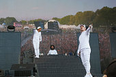 Record producer/rapper Walshy Fire DJ Jillionaire and record producer Diplo of Major Lazer perform during the 2016 Panorama Festival on July 22 2016...