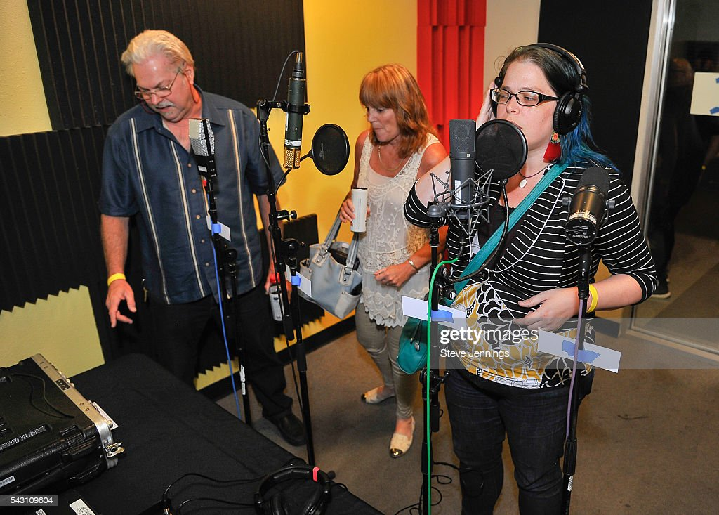 Recording Academy Chapter guests try out vocal microphones at the GRAMMY Pro - Art Of The Craft: Vocal Production at Ex'pression College on June 18, 2016 in Emeryville, California.