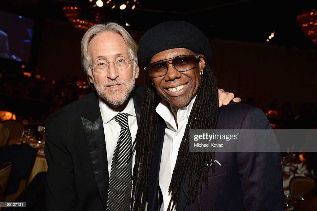 Recording Academy President/CEO <a gi-track='captionPersonalityLinkClicked' href=/galleries/search?phrase=Neil+Portnow&family=editorial&specificpeople=208909 ng-click='$event.stopPropagation()'>Neil Portnow</a> (L) and musician <a gi-track='captionPersonalityLinkClicked' href=/galleries/search?phrase=Nile+Rodgers&family=editorial&specificpeople=217582 ng-click='$event.stopPropagation()'>Nile Rodgers</a> attend the 56th annual GRAMMY Awards Pre-GRAMMY Gala and Salute to Industry Icons honoring Lucian Grainge at The Beverly Hilton on January 25, 2014 in Los Angeles, California.