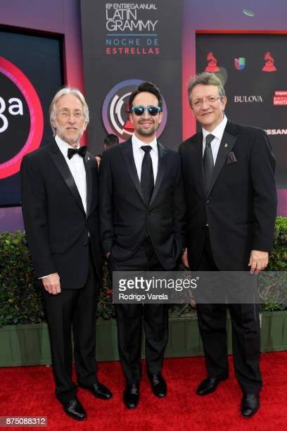 Recording Academy President/CEO Neil Portnow honoree LinManuel Miranda and President/CEO of The Latin Recording Academy Gabriel Abaroa attend The...