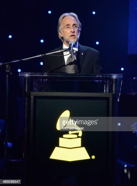 Recording Academy President/CEO Neil Portnow speaks onstage during the 56th annual GRAMMY Awards PreGRAMMY Gala and Salute to Industry Icons honoring...