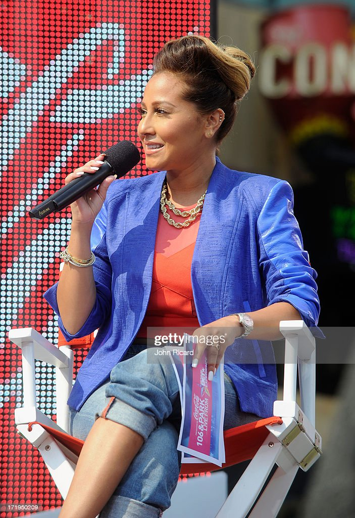 Recording Adrienne Bailon speaks onstage during at 106 & Park Live presented by Coke during the 2013 BET Experience at L.A. LIVE on June 29, 2013 in Los Angeles, California.