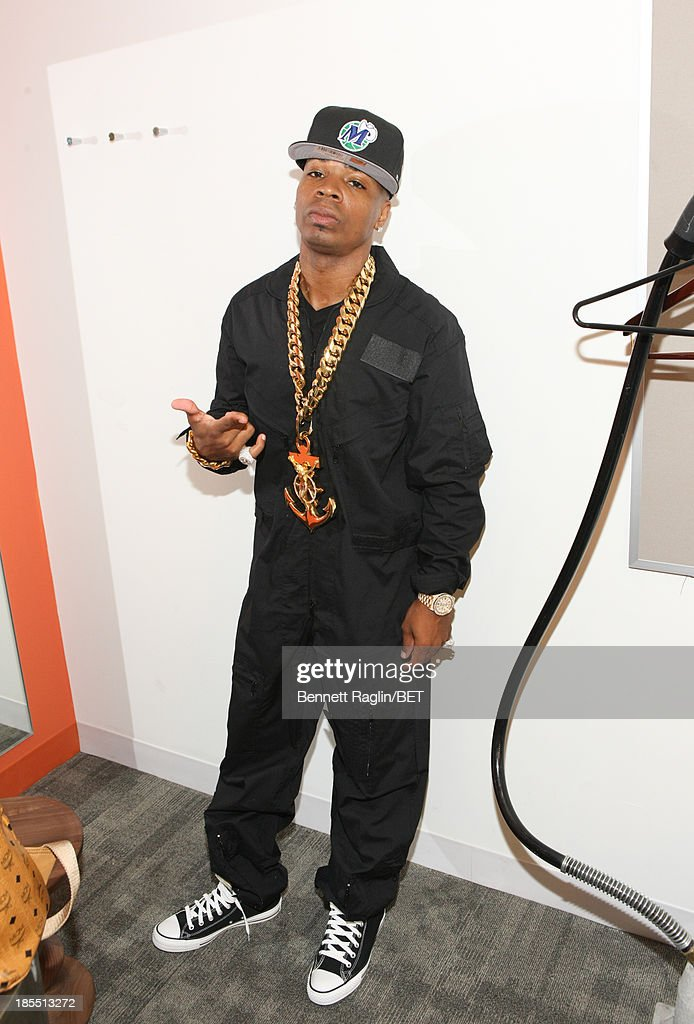 Recording aritst Plies visits 106 & Park at 106 & Park studio on October 21, 2013 in New York City.