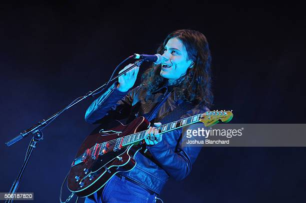 Recording artisit Borns perform at The Theatre at Ace Hotel Downtown LA on January 21 2016 in Los Angeles California