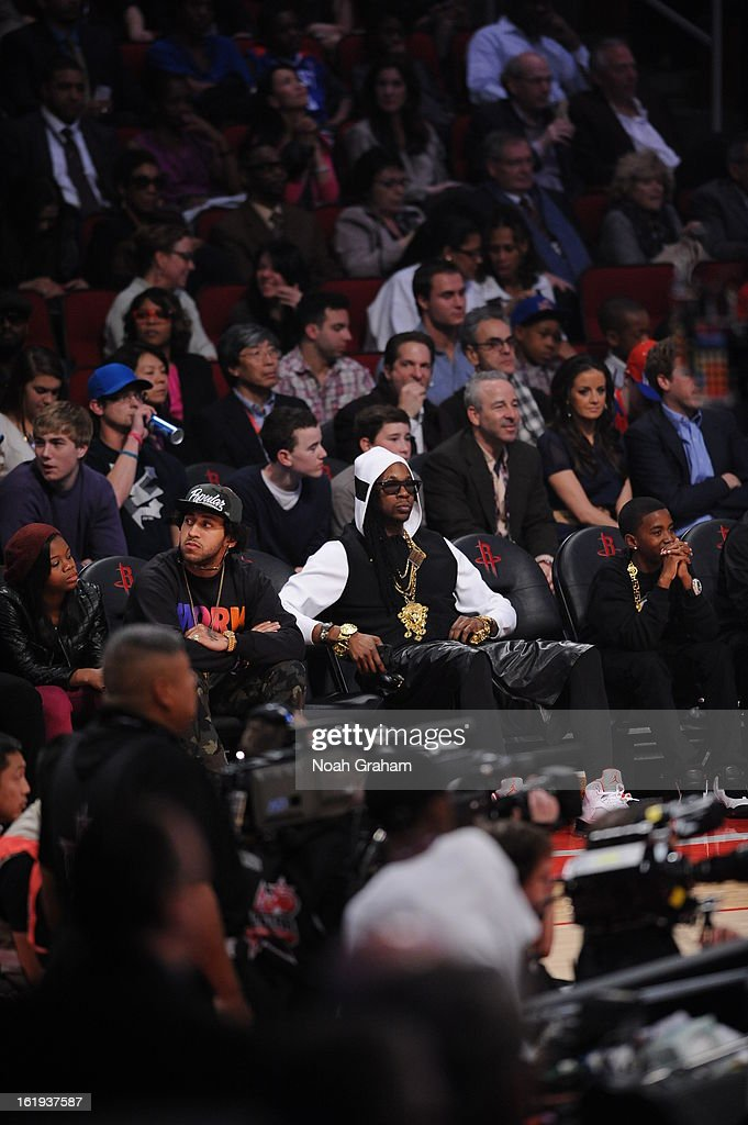 Recording artist 2 Chainz sits courtside during the 2013 NBA All-Star Game presented by Kia on February 17, 2013 at the Toyota Center in Houston, Texas.