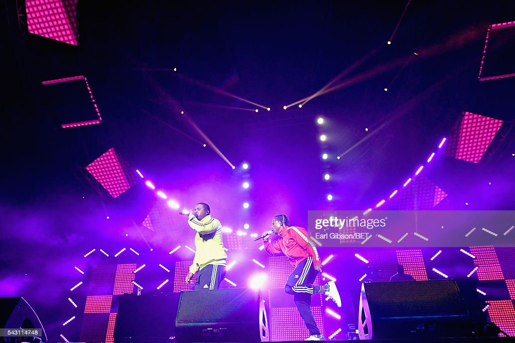 Recording artist A$AP Ferg (L) performs onstage with guest performer Marty Baller during the 2016 BET Experience at Staples Center on June 25, 2016 in Los Angeles, California.