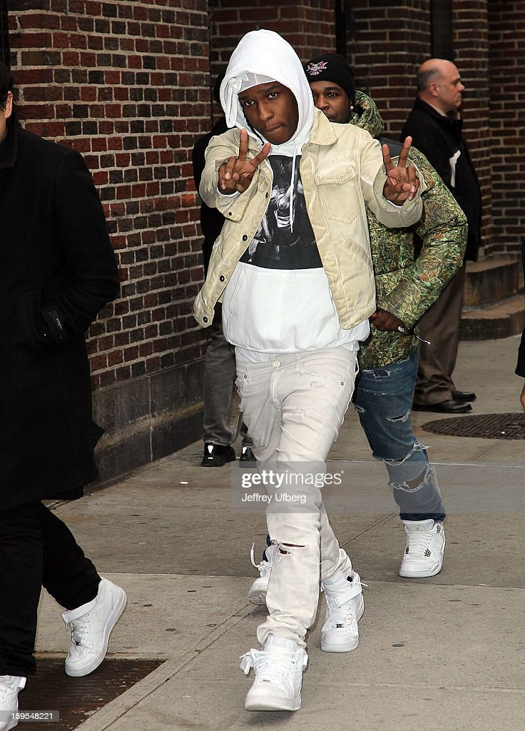 Recording artist A$AP Rocky arrives to 'Late Show with David Letterman' at Ed Sullivan Theater on January 15, 2013 in New York City.
