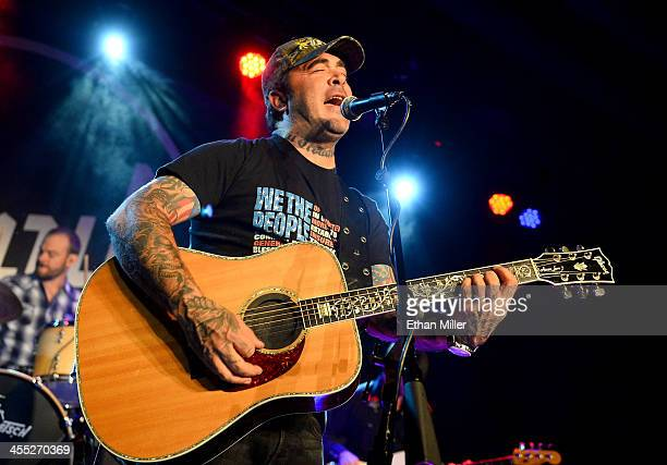 Recording artist Aaron Lewis performs as he tours in support of the album 'The Road' at Vinyl inside the Hard Rock Hotel Casino on December 11 2013...