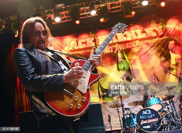 Recording artist Ace Frehley performs at Brooklyn Bowl Las Vegas at The LINQ Promenade on March 6 2016 in Las Vegas Nevada