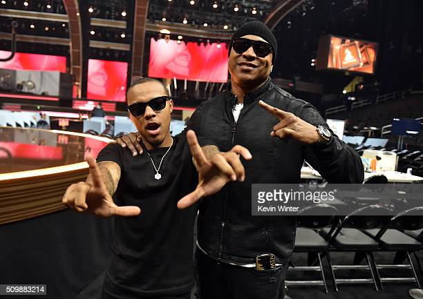 Recording artist/ actore Shad 'Bow Wow' Moss and host LL Cool J pose in the audience during The 58th GRAMMY Awards at Staples Center on February 12...