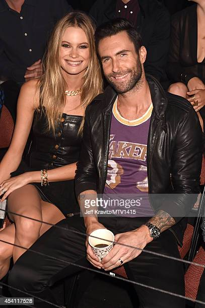 Recording artist Adam Levine and model Behati Prinsloo attend the 2014 MTV Video Music Awards at The Forum on August 24 2014 in Inglewood California