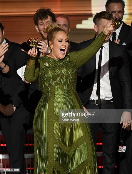 Recording artist Adele accepts the Album Of The Year award for '25' onstage during The 59th GRAMMY Awards at STAPLES Center on February 12 2017 in...