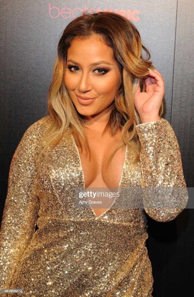 Recording artist <a gi-track='captionPersonalityLinkClicked' href=/galleries/search?phrase=Adrienne+Bailon&family=editorial&specificpeople=540286 ng-click='$event.stopPropagation()'>Adrienne Bailon</a> attends Beats Music Launch Party At Belasco Theatre at Belasco Theatre on January 24, 2014 in Los Angeles, California.