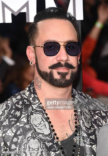 Recording artist AJ McLean of the Backstreet Boys attends the 2014 MTV Movie Awards at Nokia Theatre LA Live on April 13 2014 in Los Angeles...