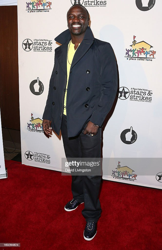 Recording artist Akon attends the 7th Annual 'Stars & Strikes' Celebrity Bowling and Poker Tournament benefiting A Place Called Home at PINZ Bowling & Entertainment Center on March 6, 2013 in Studio City, California.