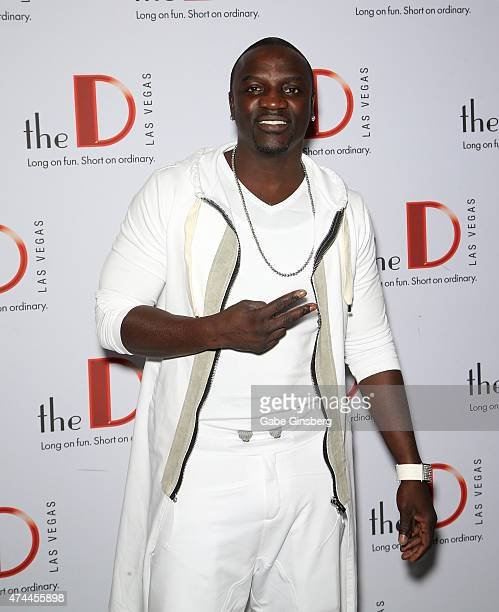 Recording artist Akon attends the 'Knockout Night at the D' boxing event at the Downtown Las Vegas Events Center on May 22 2015 in Las Vegas Nevada