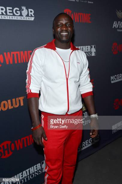 Recording artist Akon attends the Showtime WME IME and Mayweather Promotions VIP PreFight party for Mayweather vs McGregor at TMobile Arena on August...
