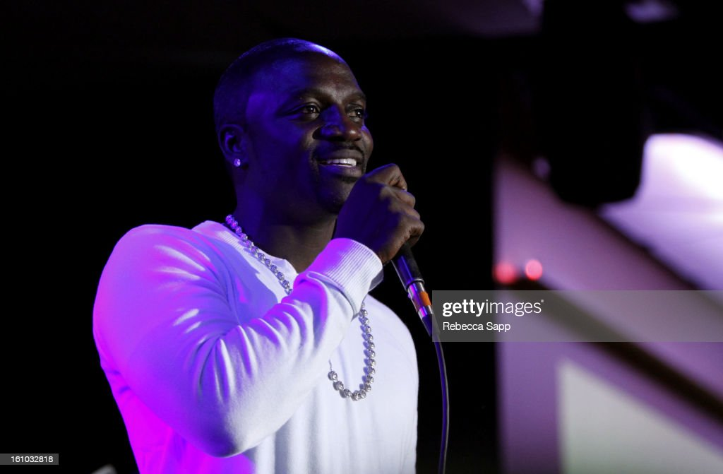 Recording artist Akon introduces singer Jade Nova at the Start Up Village/Social Media Summit at The Conga Room at LA Live on February 8, 2013 in Los Angeles, California.