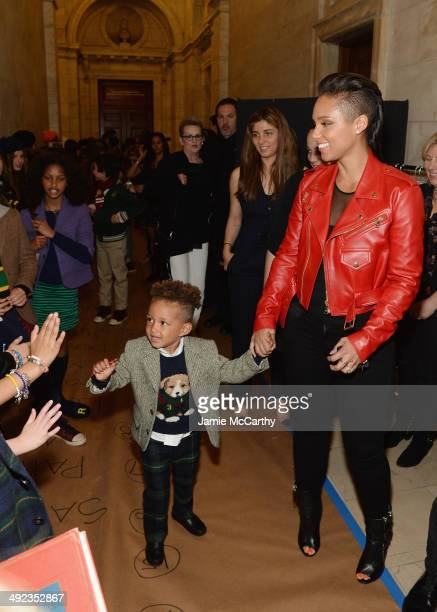 Recording artist Alicia Keys and her son Egypt Dean attend the Ralph Lauren Fall 14 Children's Fashion Show in Support of Literacy at New York Public...
