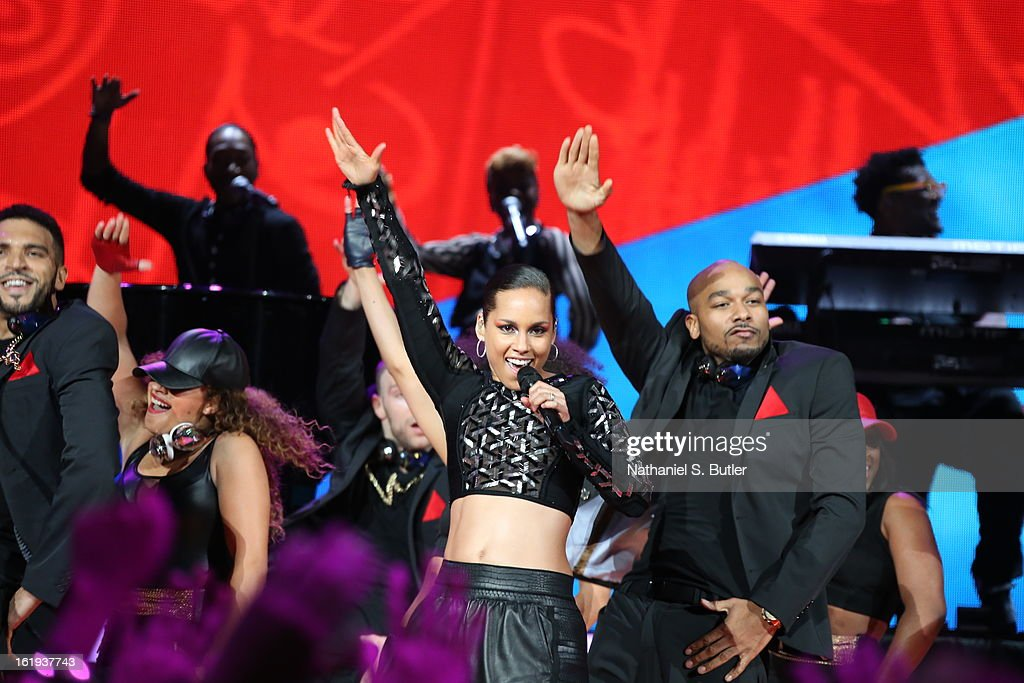 Recording artist Alicia Keys performs at the 2013 NBA All-Star Game Halftime Show on February 17, 2013 at the Toyota Center in Houston, Texas.