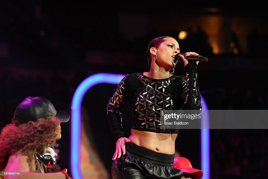 Recording artist, <a gi-track='captionPersonalityLinkClicked' href=/galleries/search?phrase=Alicia+Keys&family=editorial&specificpeople=169877 ng-click='$event.stopPropagation()'>Alicia Keys</a>, performs during halftime of the 2013 NBA All-Star Game on February 17, 2013 at Toyota Center in Houston, Texas.