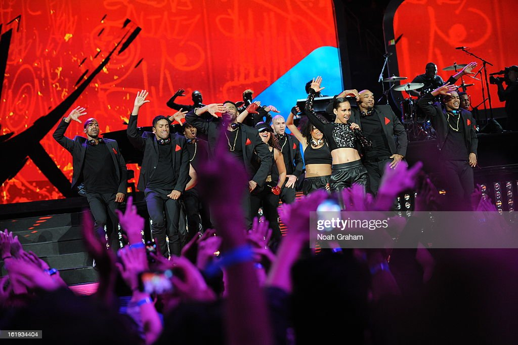 Recording artist Alicia Keys performs during the 2013 NBA All-Star Game presented by Kia on February 17, 2013 at the Toyota Center in Houston, Texas.
