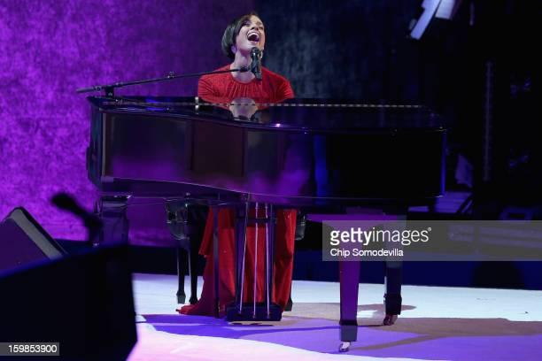 Recording artist Alicia Keys performs during the CommanderInChief Ball celebrating the inauguration of US President Barack Obama at the Walter...