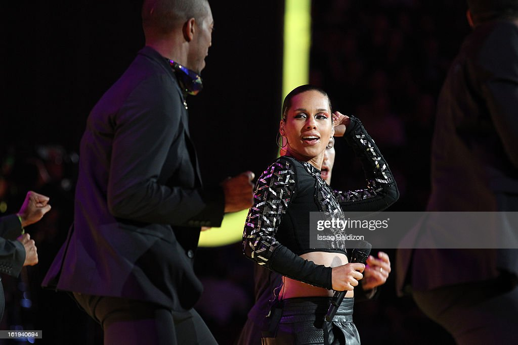 Recording Artist <a gi-track='captionPersonalityLinkClicked' href=/galleries/search?phrase=Alicia+Keys&family=editorial&specificpeople=169877 ng-click='$event.stopPropagation()'>Alicia Keys</a> performs for the crowd during half-time of the 2013 NBA All-Star Game on February 17, 2013 at Toyota Center in Houston, Texas.