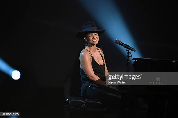 Recording artist Alicia Keys performs onstage during 'The Night That Changed America A GRAMMY Salute To The Beatles' at the Los Angeles Convention...