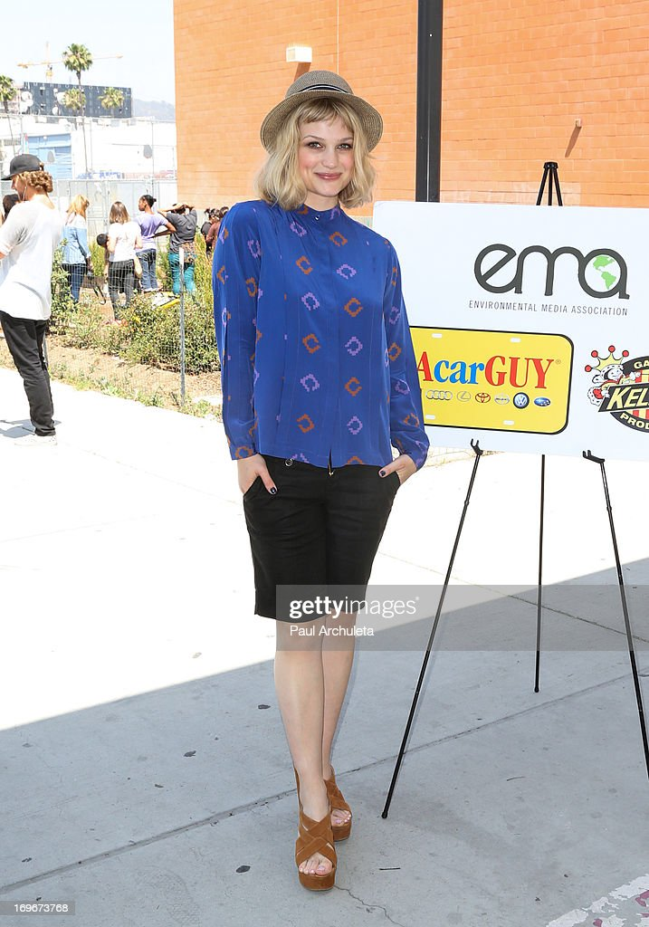 Recording Artist Alison Sudol visits Helen Bernstein High School for the Environmental Media Association at Helen Bernstein High School on May 30, 2013 in Hollywood, California.