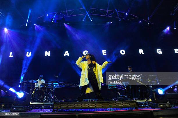 Recording artist Aluna Francis of Alunageorge performs on Troubadour Stage during day 3 of the 2016 Life Is Beautiful festival on September 25 2016...
