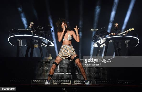 Recording artist Aluna Francis of AlunaGeorge performs onstage with Guy Lawrence and Howard Lawrence of Disclosure during day 2 of the 2016 Coachella...