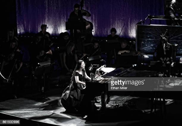 Recording artist Amy Lee of Evanescence performs with an orchestra as the band kicks off its tour in support of the upcoming album 'Synthesis' at The...