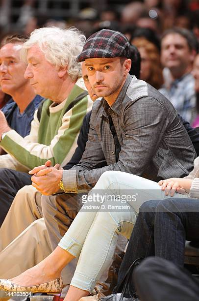 Recording artist and actor Justin Timberlake looks on during a game between the Denver Nuggets and the Los Angeles Lakers in Game Seven of the...