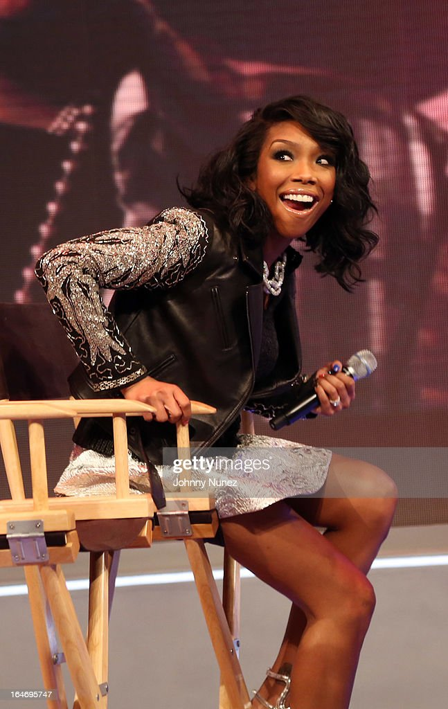 Recording artist and actress Brandy visits BET's '106 & Park' at BET Studios on March 26, 2013, in New York City.