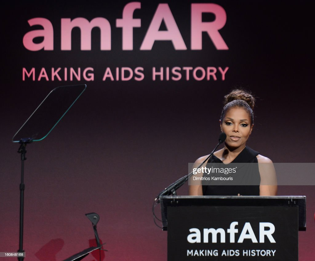 Recording artist and actress <a gi-track='captionPersonalityLinkClicked' href=/galleries/search?phrase=Janet+Jackson&family=editorial&specificpeople=156414 ng-click='$event.stopPropagation()'>Janet Jackson</a> speaks onstage at the amfAR New York Gala to kick off Fall 2013 Fashion Week at Cipriani Wall Street on February 6, 2013 in New York City.