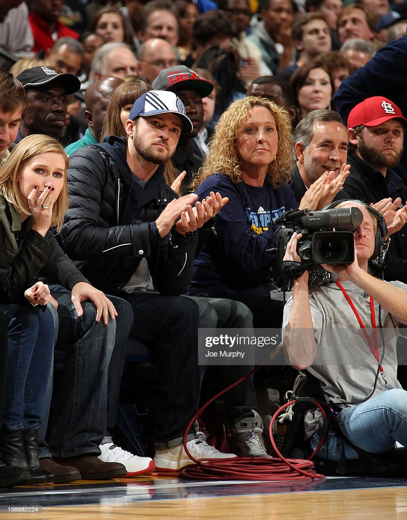 Recording artist and Memphis Grizzlies minority owner Justin Timberlake cheers during a game between the Memphis Grizzlies and the Los Angeles Lakers on November 23, 2012 at FedExForum in Memphis, Tennessee.