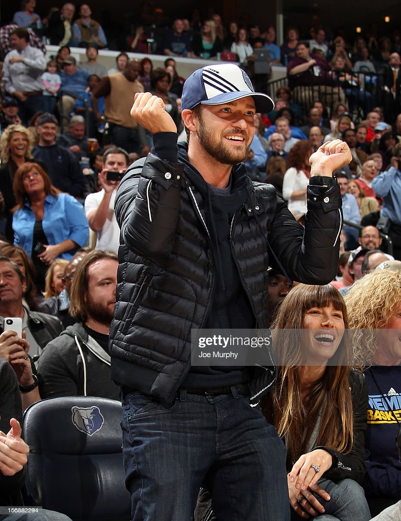 Recording artist and Memphis Grizzlies minority owner Justin Timberlake dances along side Jessica Biel during a game between the Memphis Grizzlies and the Los Angeles Lakers on November 23, 2012 at FedExForum in Memphis, Tennessee.